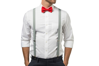 Light Gray Suspenders & Red Bow Tie