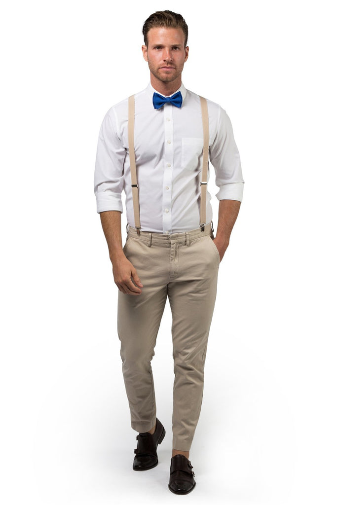 Beige Suspenders & Royal Blue Bow Tie