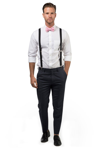 Black Suspenders & Candy Pink Bow Tie