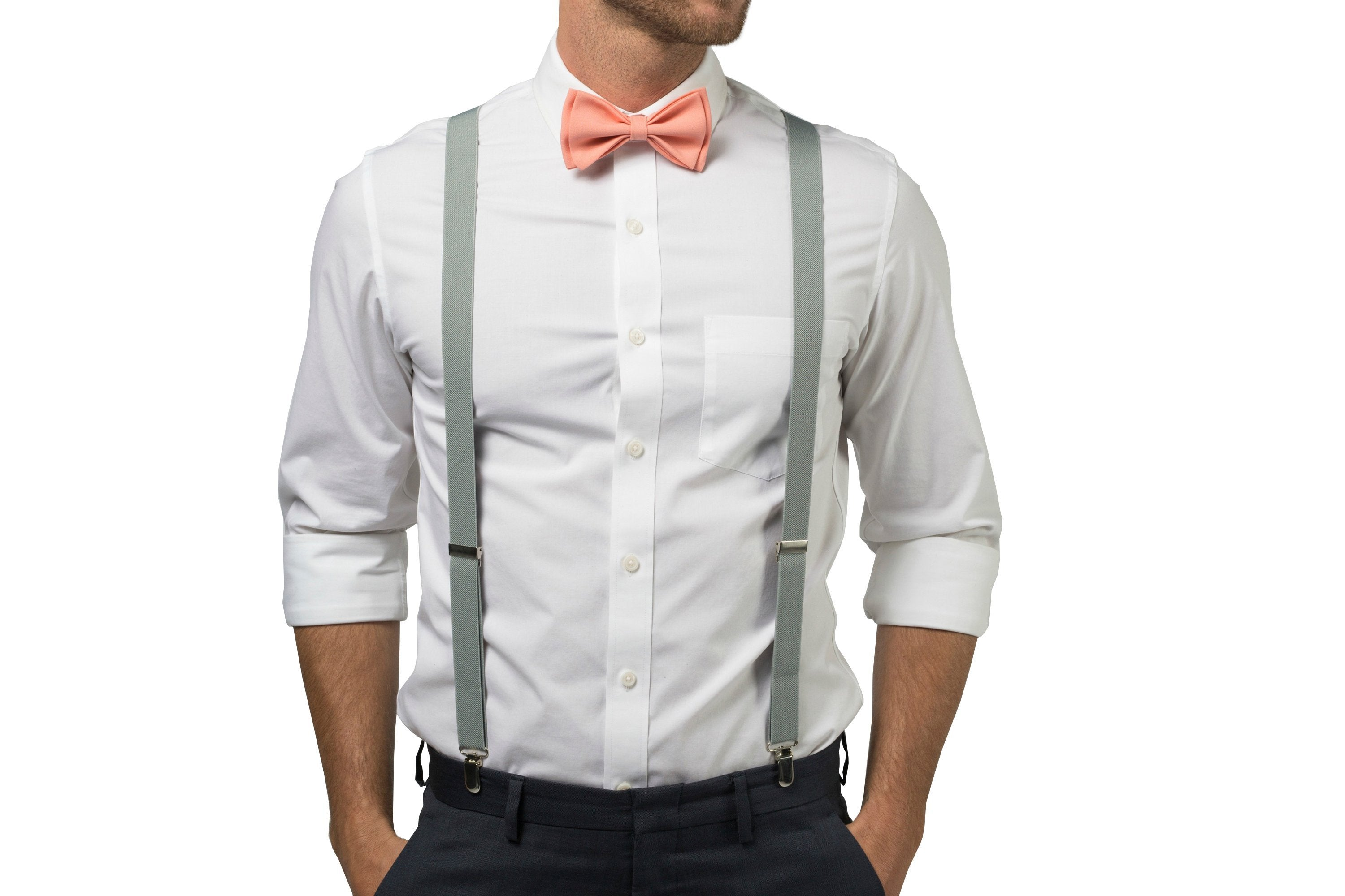 a513e31d37c1 Light Gray Suspenders & Peach Coral Bow Tie | Armoniia