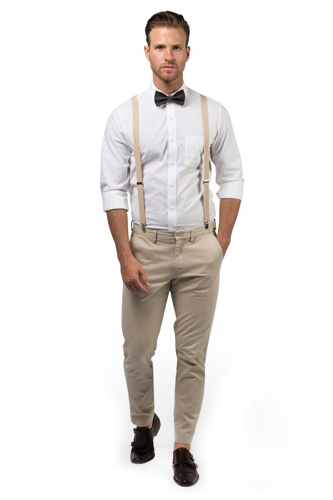 Beige Suspenders & Black Polka Dot Bow Tie