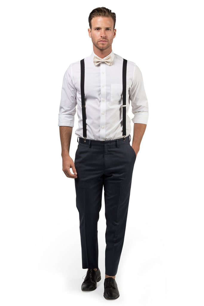 Black Suspenders & Cream Bow Tie