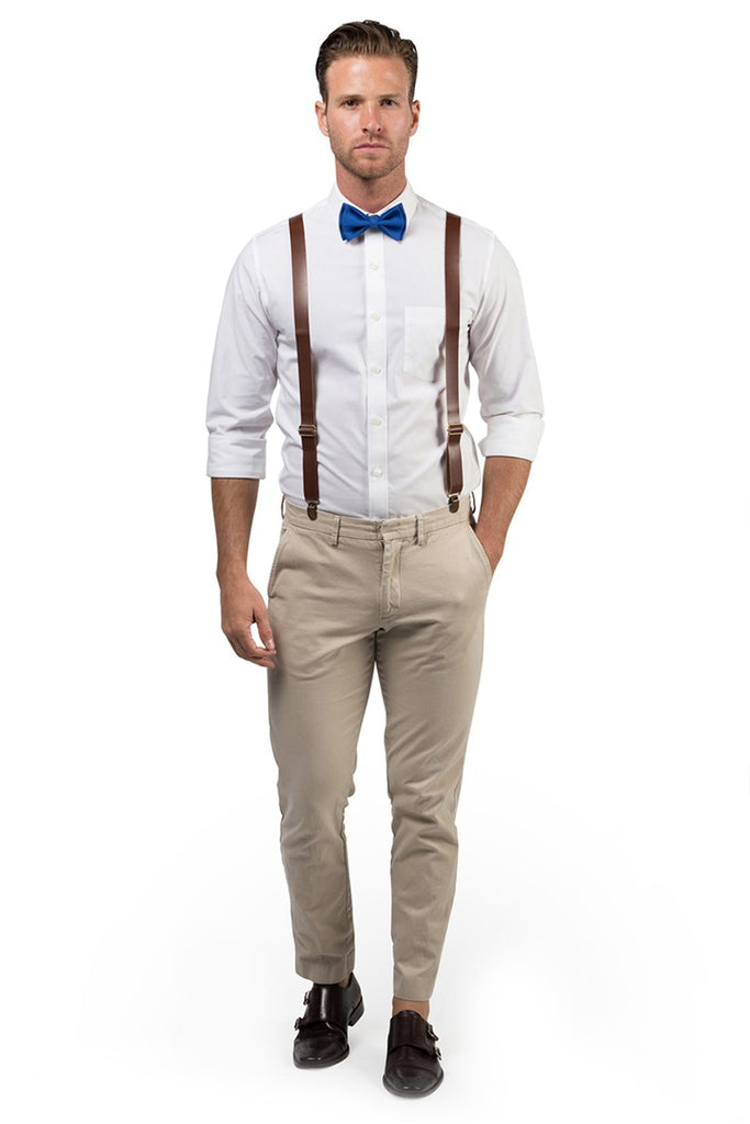 Brown Leather Suspenders & Royal Blue Bow Tie