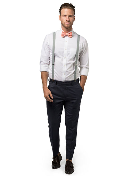 Light Gray Suspenders & Peach Coral Bow Tie