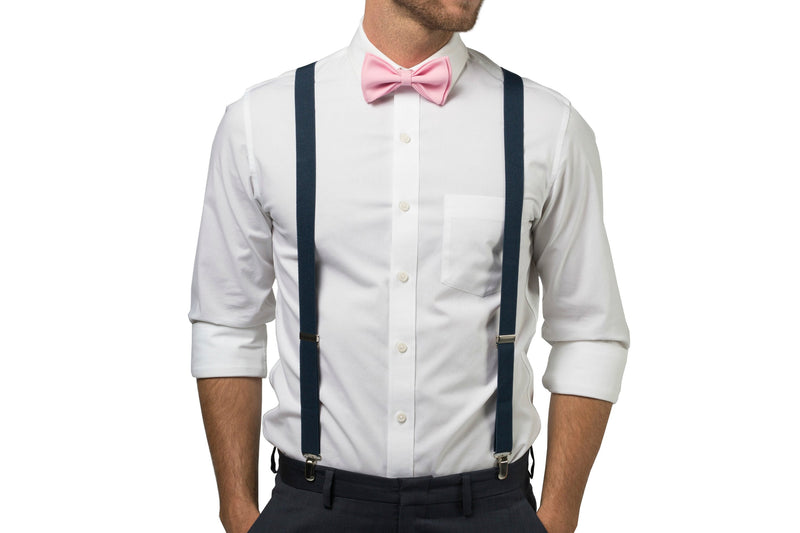Navy Suspenders & Candy Pink Bow Tie