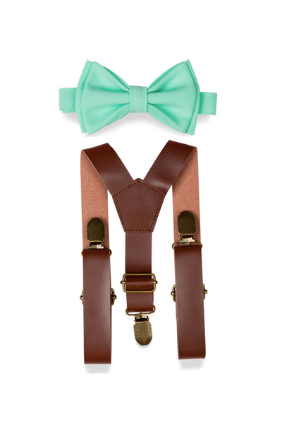 Brown Leather Suspenders & Mint Bow Tie for Kids