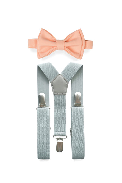 Light Grey Suspenders & Peach Bow Tie for Kids