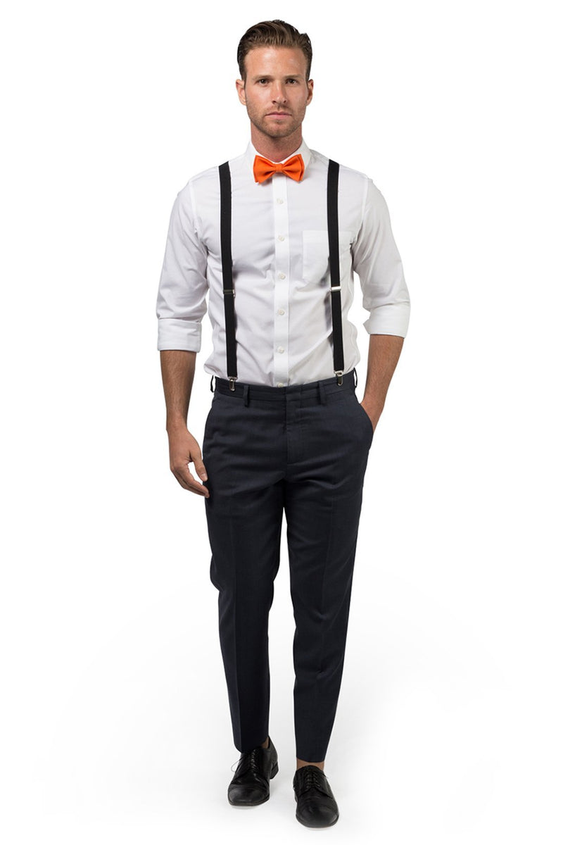 Black Suspenders & Orange Bow Tie