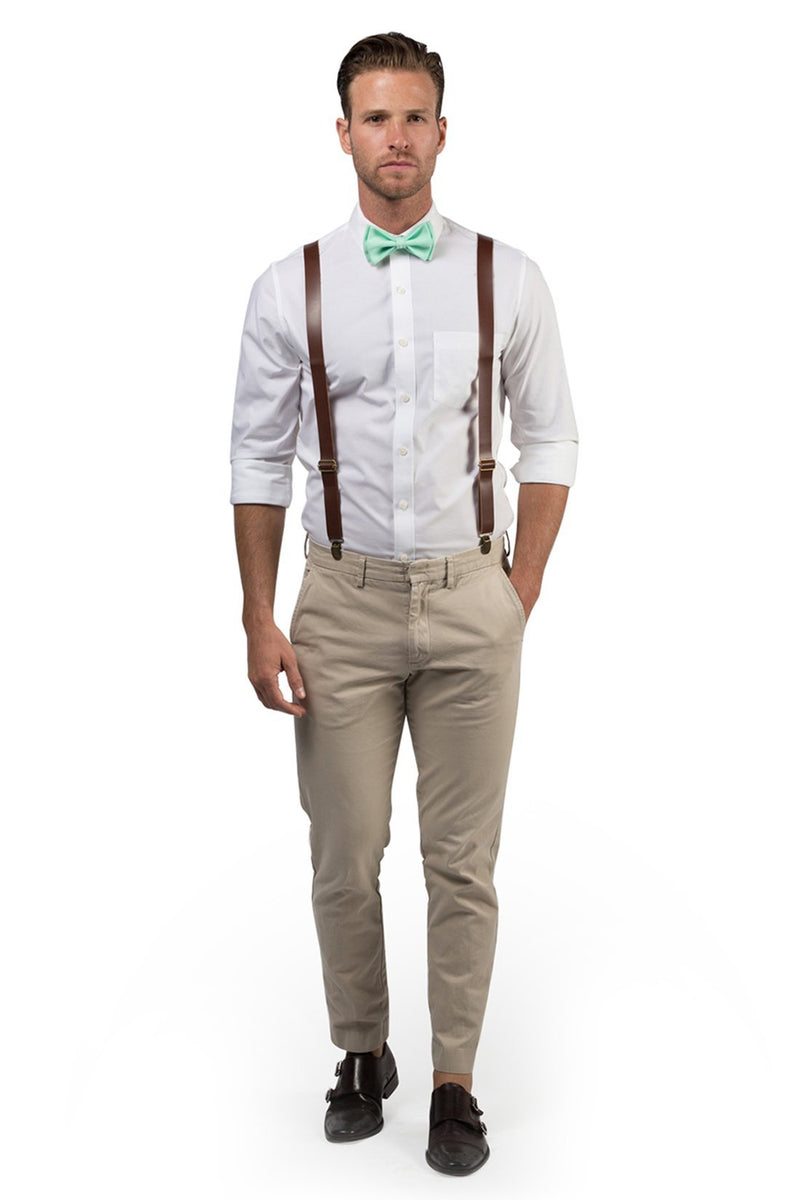 Brown Leather Suspenders & Mint Bow Tie