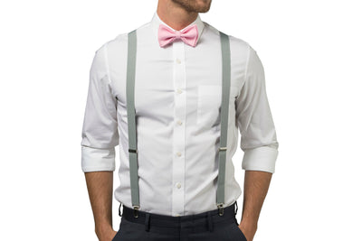 Light Gray Suspenders & Candy Pink Bow Tie