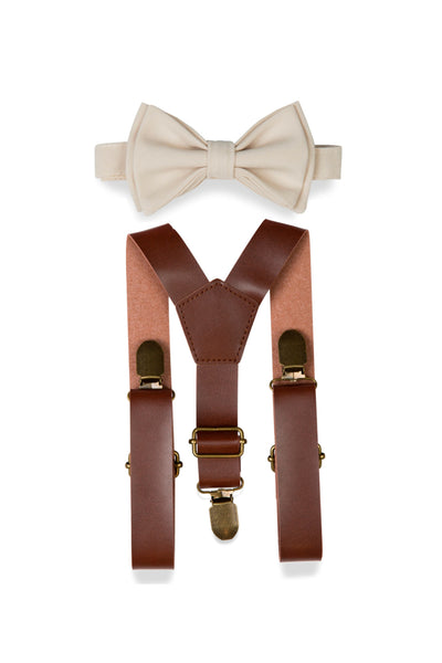 Brown Leather Suspenders & Cream Bow Tie for Kids