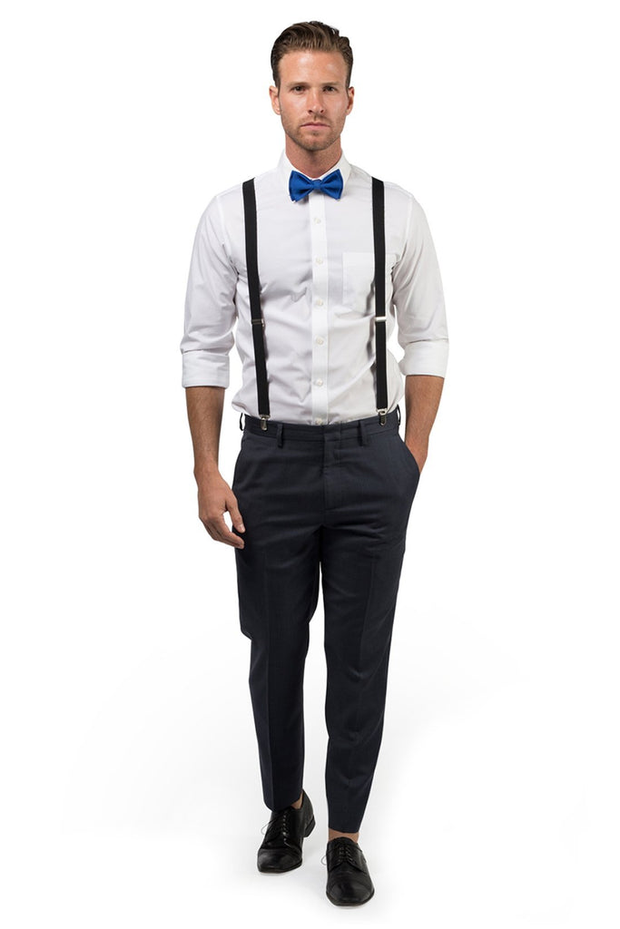 Black Suspenders & Royal Blue Bow Tie
