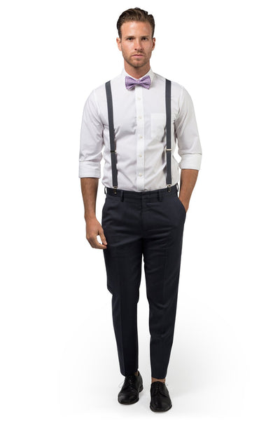 Charcoal Suspenders & Gingham Purple Bow Tie