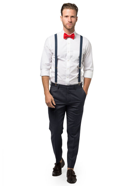 Navy Suspenders & Red Bow Tie