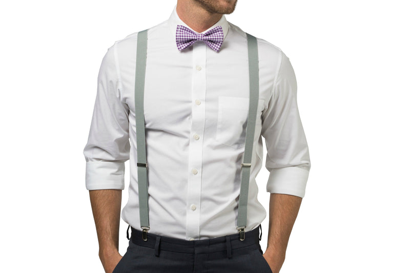 Light Gray Suspenders & Gingham Purple Bow Tie