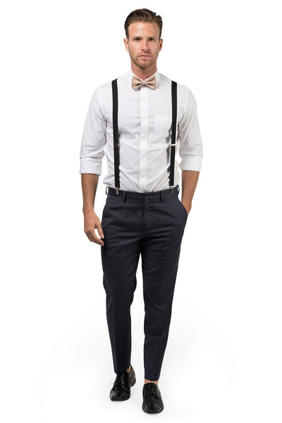 Black Suspenders & Beige Bow Tie