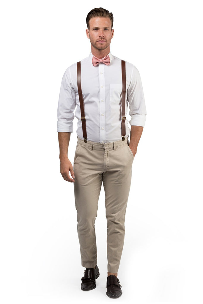 Brown Leather Suspenders & Dusty Rose Bow Tie