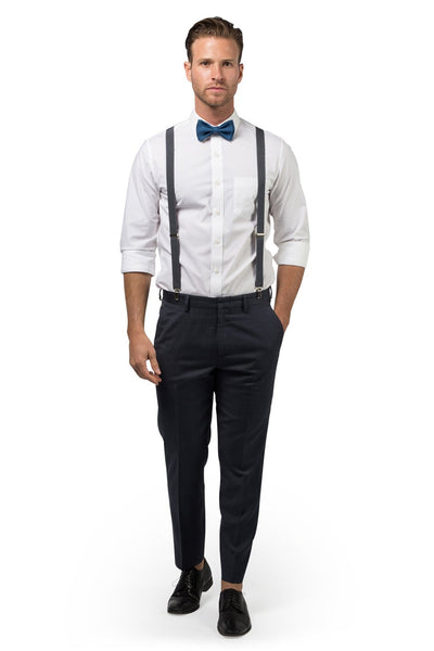 Charcoal Suspenders & Peacock Bow Tie