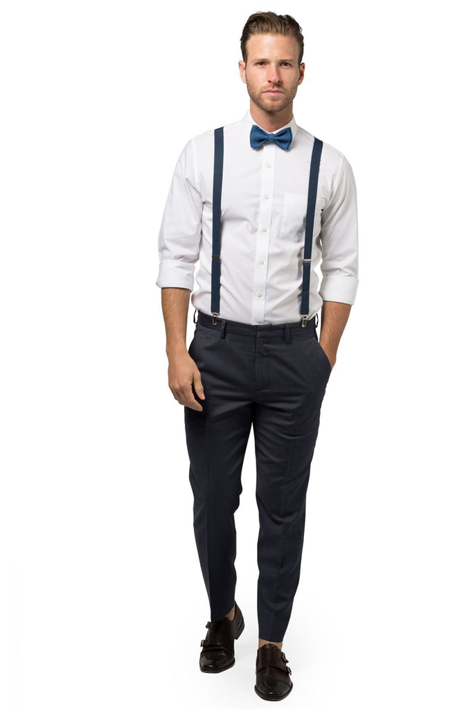Navy Suspenders & Peacock Bow Tie