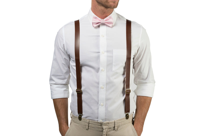 Brown Leather Suspenders & Pink Bow Tie