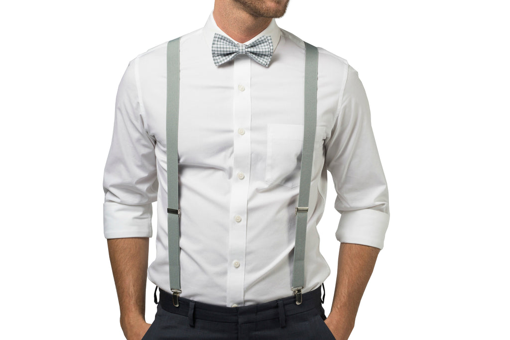 Gingham Gray Bow Tie