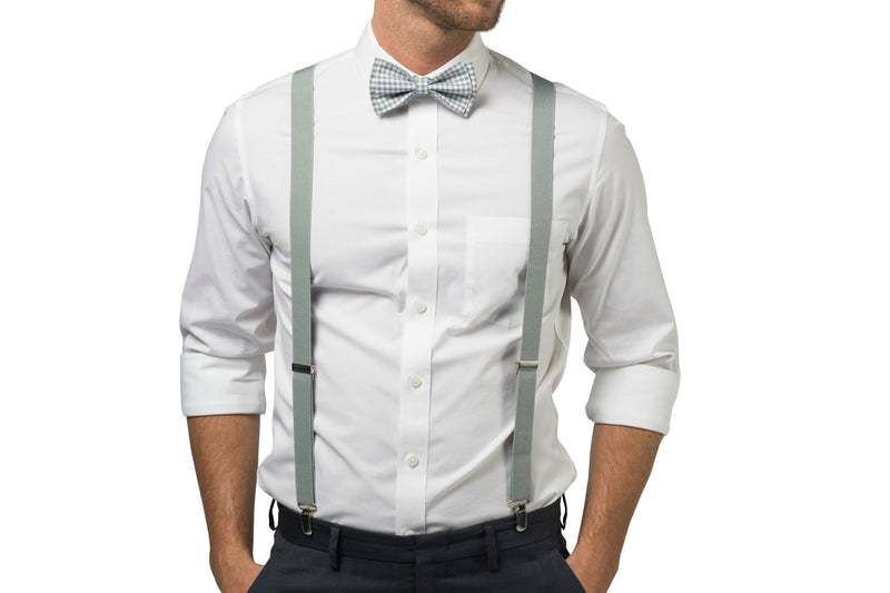 Light Gray Suspenders & Gingham Gray Bow Tie