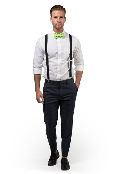 Black Suspenders & Lime Bow Tie