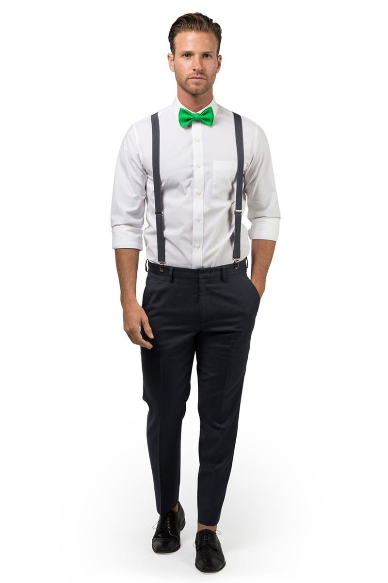 Charcoal Suspenders & Green Bow Tie
