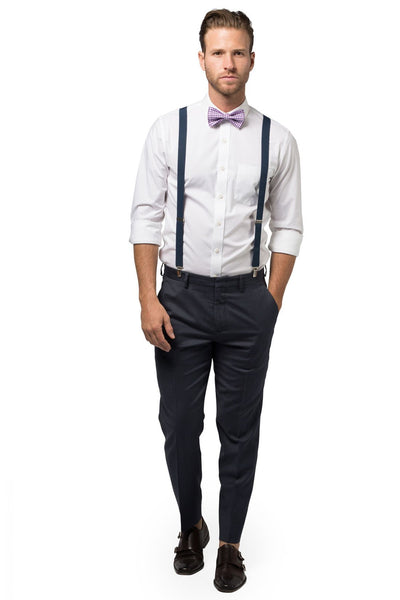 Navy Suspenders & Gingham Purple Bow Tie