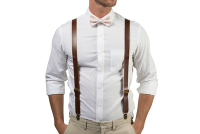 Brown Leather Suspenders & Petal Bow Tie