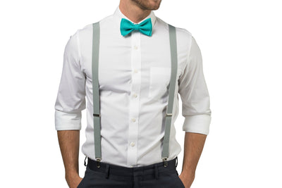 Light Gray Suspenders & Jade Bow Tie