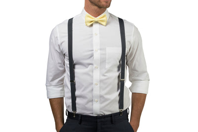 Charcoal Suspenders & Yellow Bow Tie