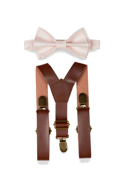 Brown Leather Suspenders & Petal Bow Tie for Kids