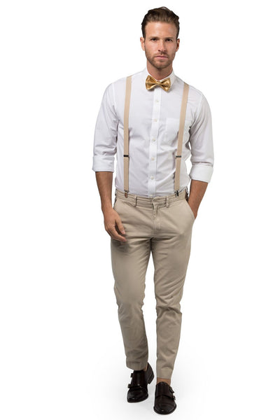 Beige Suspenders & Gold Bow Tie