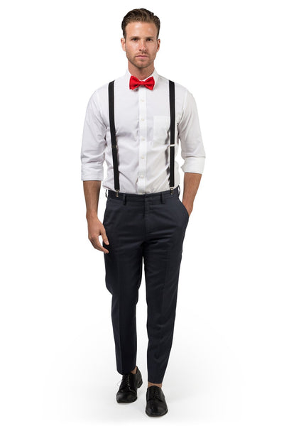 Black Suspenders & Red Bow Tie