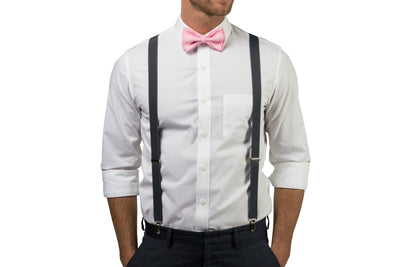 Charcoal Suspenders & Candy Pink Bow Tie