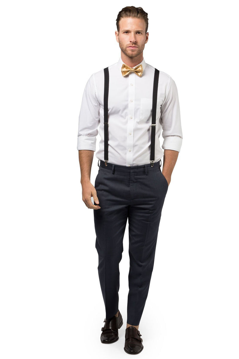 Black Suspenders & Gold Bow Tie