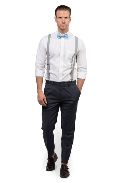 Light Gray Suspenders & Baby Blue Bow Tie