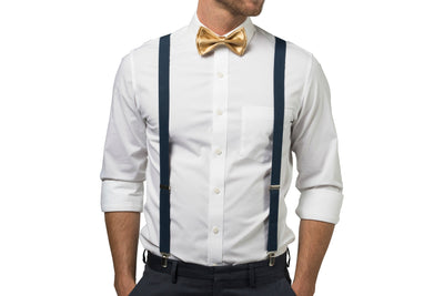 Charcoal Suspenders & Gold Bow Tie
