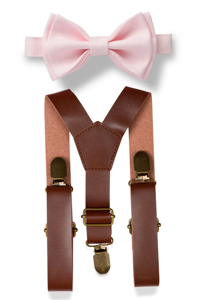 Brown Leather Suspenders & Blushing Pink Bow Tie