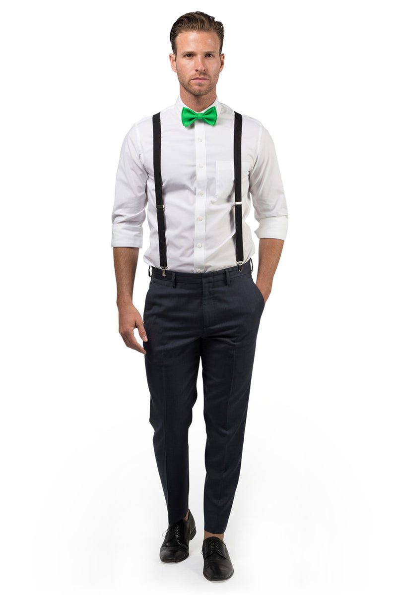 Black Suspenders & Green Bow Tie