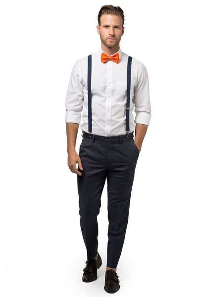 Navy Suspenders & Orange Bow Tie