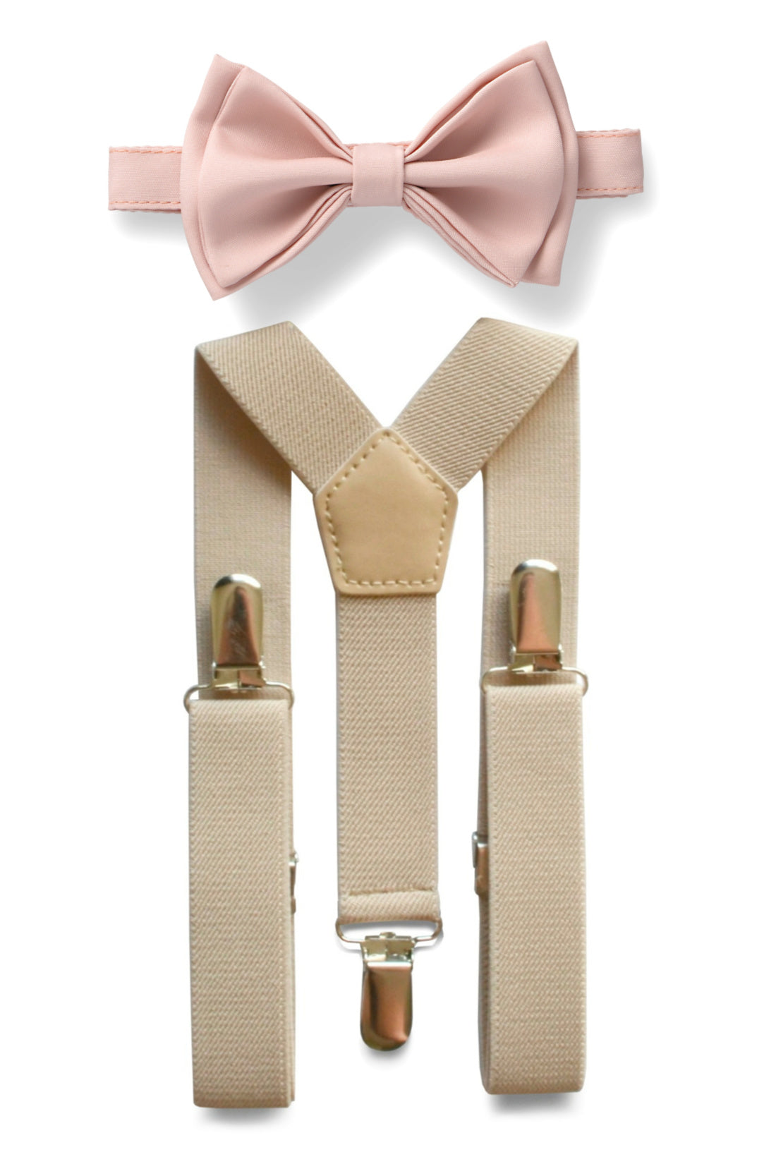 Beige Suspenders & Blush Bow Tie