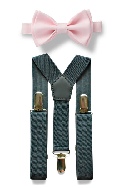 Charcoal Grey Suspenders & Blushing Pink Bow Tie