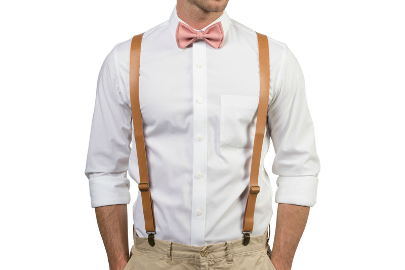 Tan Leather Suspenders & Dusty Rose Bow Tie
