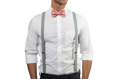 Light Gray Suspenders & Dusty Rose Bow Tie