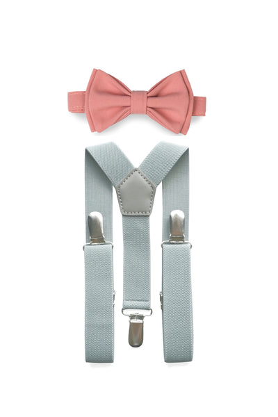 Light Grey Suspenders & Dusty Rose Bow Tie