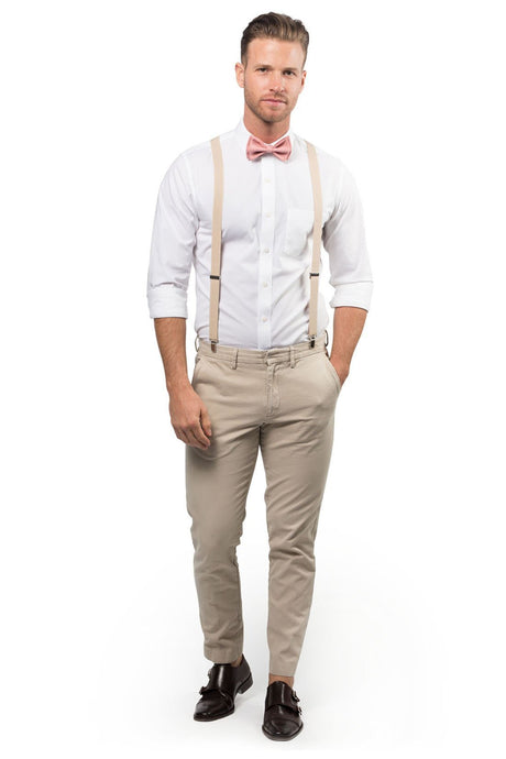 Beige Suspenders & Dusty Rose Bow Tie