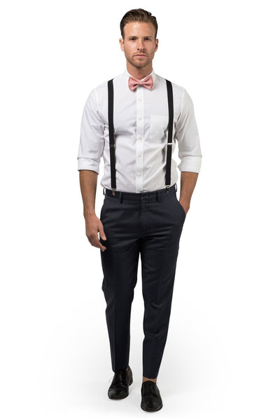 Black Suspenders & Dusty Rose Bow Tie