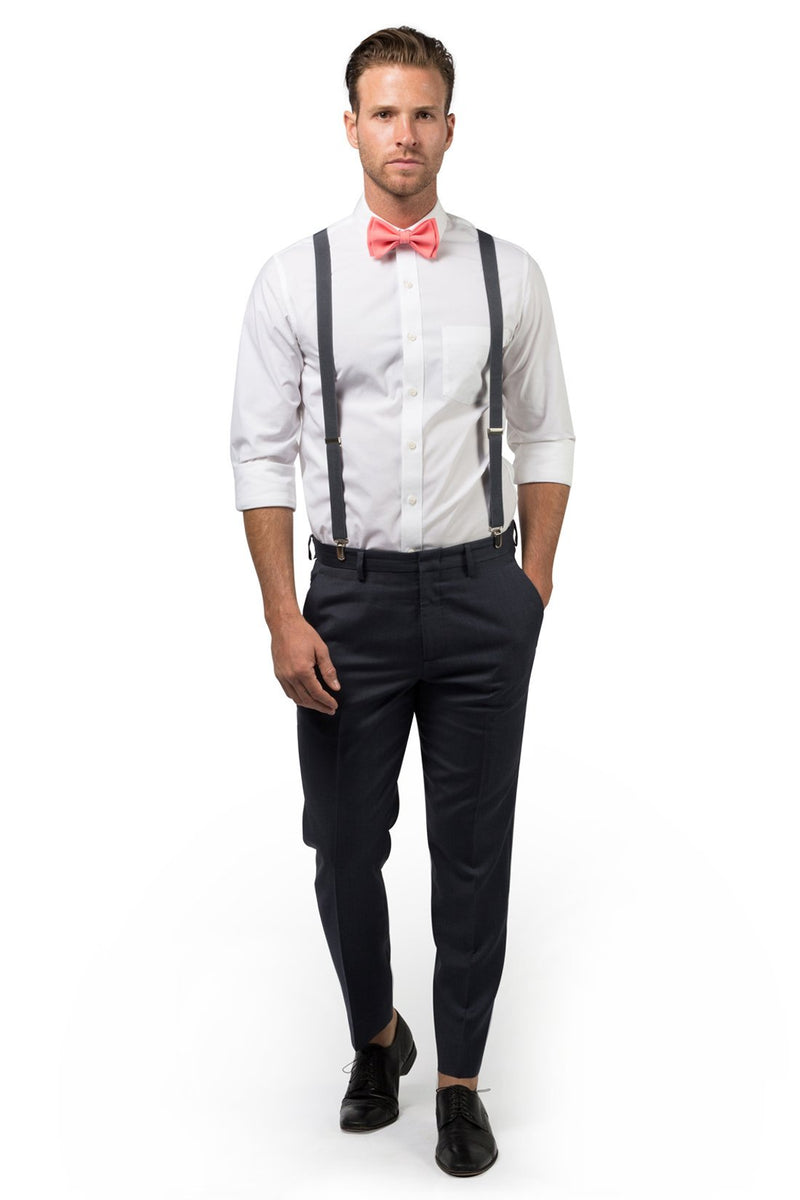 Charcoal Suspenders & Coral Bow Tie